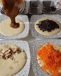 Hayırlı geceler Bugün bir kek karışımıyla 4 çeşit birbirinden oldukça farklı kekler hazırladım Bir tariften çeşit çeşit tatlar çıkarmayı seviyorum ☺ Hem sunum tabağında çeşitlilik olarak çok güzel oluyorlar hem de hepsinin tadına birden varabiliyorsunuz Havuçlu tarçınlı kek Muzlu çikolatalı ... Turkish Delight, Turkish Recipes, Beautiful Cakes, Cake Recipes, Deserts, Muffin, Food And Drink, Pudding, Cooking