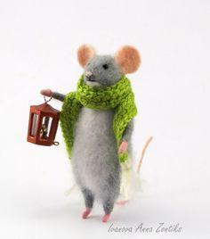 Tiny mouse Needle Felted Animal Felt toy mini needle от Zontiks