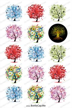 """Tree of life 1"""" 4x6 bottle cap images - 1 inch rounds graphics stickers, Digital Printable Bottle Cap Images File. $2.00, via Etsy."""