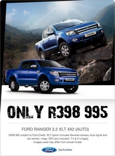 New Ford Ranger 3.2 XLT 4x2 (Auto) now R398 995. Includes reverse camera, auto lights, rain sensor, mags and more.