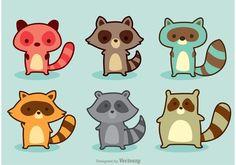 Free vector Variation Raccoon Cartoon Vector #27736