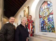 Bishop Paul with Muriel and Alan at the Creation and Harmony Memorial Window