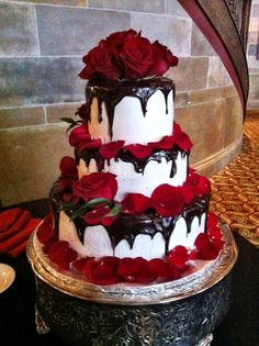 Halloween wedding cake by Creative Cakes by Donna   Swirl of Chocolate and Red Velvet with Raspberry Filling