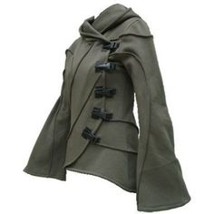 If this had less modern looking fasteners I could really see this being a nice jacket for elves, rangers and such. - Vodabox Army Green Hooded Cyber Jacket