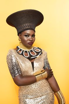 Handmade traditional Zulu hats in various colours in gold and black. Available in black and white , gold and black, red and royal blue. African Hats, African Women, African Dress, Zulu Women, African Traditional Wear, Bijoux Design, Latest African Fashion Dresses, Hot Outfits, Fashion Outfits