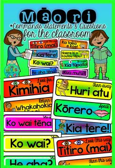Maori Commands, Statements & Questions for the Classroom School Resources, Teaching Resources, Classroom Resources, Early Learning, Kids Learning, Classroom Commands, Flash Card Template, Waitangi Day, Bilingual Classroom