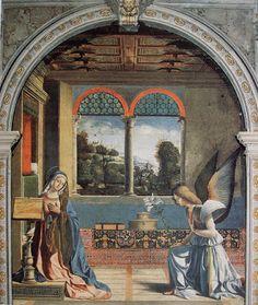 One of the few Annunciations  w/ the angel on the right!  Site avec tableaux sur les mystères du rosaire