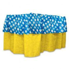 Babado de Mesa TNT poá azul e amarelo - Fascinação