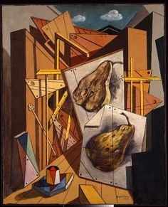 Giorgio de Chirico, Interno metafisico con pere, 1968.     #TuscanyAgriturismoGiratola