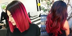 A gorgeous collection of red - black ombre hairstyles! Υπέροχη συλλογή από κοκκινόμαυρα ombre!
