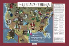 The infographic lists favorite items - some of them highly unusual - circulating at libraries across North America. Bird watching kits, microscopes or Santa suits are just a few of them! Library Work, Future Library, Library Ideas, Library Association, Paint Your House, Alaska Fishing, Santa Suits, Elementary Library, Countries Around The World