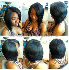 20 layered bob hairstyles for black women the best short inside African American Feathered Bob Hairstyles Feathered Hairstyles, Weave Hairstyles, Cool Hairstyles, Hairstyle Ideas, Frontal Hairstyles, Updo Hairstyle, Hairdos, Love Hair, Gorgeous Hair