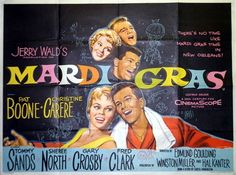 "Movie Poster for ""Mardi Gras"" (1958) starring Pat Boone and written by Curtis Harrington"
