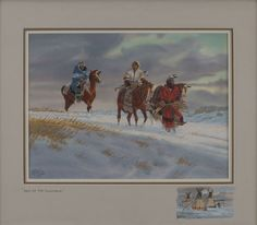 """Western Artist: Ron Stewart, """"The Days of the Cold Maker, Water Color Painting, with Detailed Remarque, #739 by CulturalPatina on Etsy"""