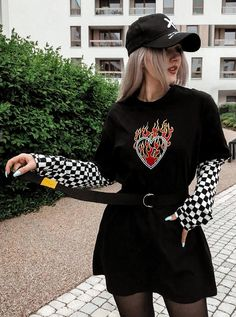 Skater Girl Outfits, Komplette Outfits, Teen Fashion Outfits, Retro Outfits, Cute Casual Outfits, Grunge Outfits, Hipster Outfits, Grunge Clothes, Grunge Dress