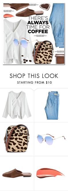 """""""Buzz-Worthy: Coffee Date"""" by paculi ❤ liked on Polyvore featuring AG Adriano Goldschmied, Diane Von Furstenberg, Laura Mercier, casual, sandals, animalprint and CoffeeDate"""