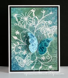 Pam Sparks, Memory Box, Butterfly Vine Stencil, Memory Box rubber stamps