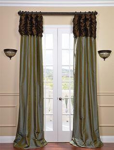 Ruched Thai Silk Curtain - Chocolate Brown Header & Sea Blue Panel