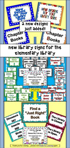 Included in this UPDATED packet are 445 pages of signage for an elementary library or media center....51-55 pages each of 8 different designs, including a black & white design. There is something for everyone so signage can enhance your library decor.  $