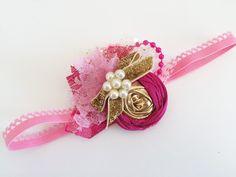 Fuschia & gold cutie   choice of headband or by Austenland on Etsy