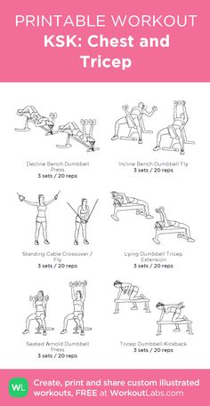 KSK Chest and Tricep my visual workout created at Chest And Shoulder Workout, Chest And Tricep Workout, Chest Workout Women, All Body Workout, Gym Workout Plan For Women, Triceps Workout, Chest Workouts, Easy Workouts, Bicep Workout Women