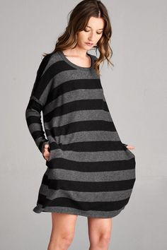 Cherish brand Boxy Fit Striped Dress - Charcoal  --  they had the white one too. Check back for restock