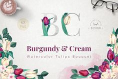 Burgundy and Cream Watercolor Tulips by WBS Design on @creativemarket