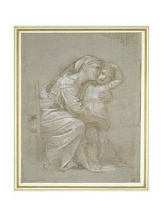 Giclee Print: The Virgin and Child (Silverpoint, Heightened with White Bodycolour on a Slate Grey Preparation) by Raphael : 24x18in