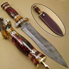 BEAUTIFUL CUSTOM HAND MADE DAMASCUS STEEL HUNTING DAGGER KNIFE WORK OF ART