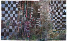 Hugette Caland, Bribes de l'ete,mixed media on canvas, 2010- looks like a quilt, embroidery