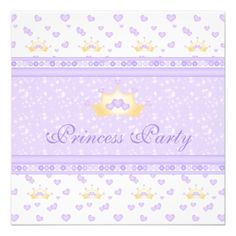 Cute Crowns Princess Purple Birthday Party Announcement