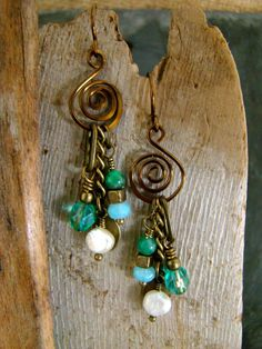 Genuine Pearl and Jade Dangle Earrings Blue Green and by Sewartzee