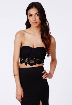 Dorla Black Crochet Lace Bralet - Tops - Crop Tops & Bralets - Missguided