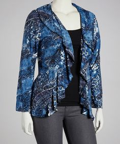 Take a look at this Blue Paisley Ruffle Open Cardigan - Plus by jon & anna on #zulily today!