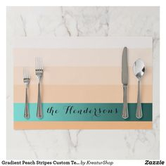 Gradient Peach Stripes Custom Text Teal Banner Paper Placemat Peach And Green, Teal Green, Blue, Golden Family, Interior Photo, Placemat, Gradient Color, Red Roses, Creative Design