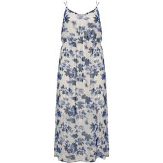 Junarose Cream / Blue Plus Size Floral chiffon maxi dress (180 CNY) ❤ liked on Polyvore featuring dresses, cream, plus size, plus size blue dress, plus size dresses, summer maxi dresses, chiffon maxi dresses and blue dress