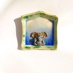 Ceramic Ganesha Altar Blue Crackle Glaze Personal by Jillatay