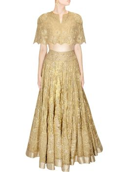 Gold embroidered cape lehenga set available only at Pernia's Pop-Up Shop.
