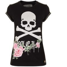 Philipp Plein Embellished Skull T Shirt ($850) ❤ liked on Polyvore featuring tops, t-shirts, black, cap sleeve tee, decorating t shirts, embellished top, skull top and philipp plein t shirt