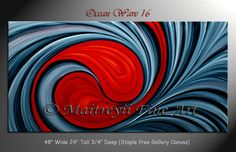 Original Abstract modern Paintings Red Contemporary wall Art by Dallas Artist Maitreyii Size 48 x 24 Ocean Wave 16