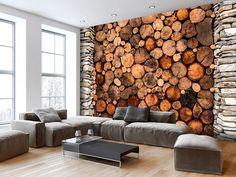 non è una vera catasta di legna in salotto, ma una carta da parati moderna. Inventa la tua #casa https://www.unacasapiugrande.it/perche-usare-la-carta-da-parati/