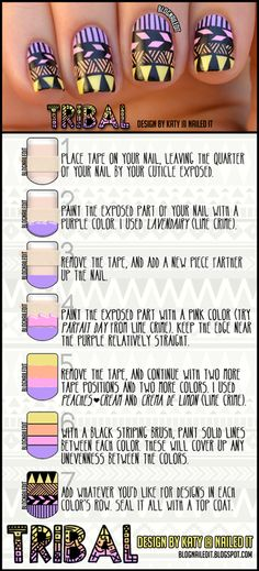 tribal nails tutorial. Patience baby...okay maybe only one nail :)