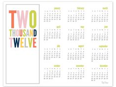 deliciously organized: 2012 Calendar