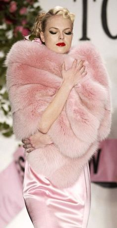 Pink Dior and faux fur wrap...I would love to hang this frock in my closet
