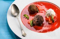 Tvarohové knedličky s jahodovým pyré - recept | Varecha.sk Dumplings, Pizza, Beef, Food, Meat, Essen, Meals, Yemek, Eten