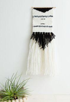 Tissage mural S, noir chiné, crème - Weaving Wallhanging S    tissage moderne, tissage contemporain, tapestry