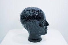 Vintage glass head black, seventies glass head mid century modern retro decoration display headphones head Piero Fornasetti