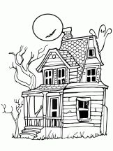 Haunted house coloring page | Clipart - Digi Stamps & Color Pages ...