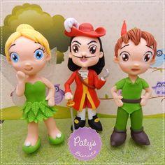 Kit 3 Miniaturas de 15cm: Peter Pan, Sininho (Tinker Bell) e Capitão Gancho - Festa Infantil - Paty's Biscuit