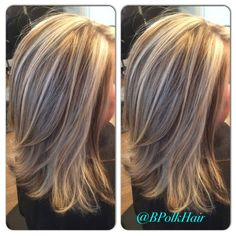 I love this type of hair color! This is exactly how I want my hair colored. Short hair gray n blondePartial & cut on IGLive this shag. Medium Hair Cuts, Medium Hair Styles, Short Hair Styles, Hair Color Highlights, Partial Blonde Highlights, Hair Color And Cut, Layered Hair, Medium Layered, Fall Hair